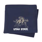 Navy Sweatshirt Blanket-Utah State Stacked w/  Mascot