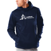 Under Armour Navy Armour Fleece Hoodie-University Mark Horizontal