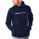 Under Armour Navy Armour Fleece Hoodie-University Wordmark Flat