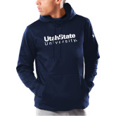 Under Armour Navy Armour Fleece Hoodie-University Wordmark
