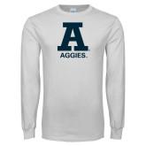 White Long Sleeve T Shirt-A Aggies