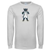 White Long Sleeve T Shirt-Big Blue Basketball