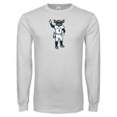 White Long Sleeve T Shirt-Big Blue Football