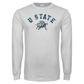 White Long Sleeve T Shirt-U State Arched