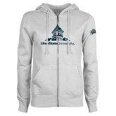 ENZA Ladies White Fleece Full Zip Hoodie-University Mark Stacked