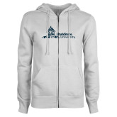 ENZA Ladies White Fleece Full Zip Hoodie-University Mark Horizontal