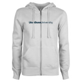 ENZA Ladies White Fleece Full Zip Hoodie-University Wordmark Flat