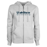 ENZA Ladies White Fleece Full Zip Hoodie-University Wordmark