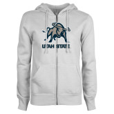ENZA Ladies White Fleece Full Zip Hoodie-Utah State Stacked w/  Mascot
