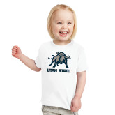 Toddler White T Shirt-Utah State Stacked w/  Mascot