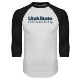 White/Black Raglan Baseball T Shirt-University Wordmark