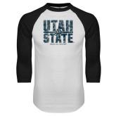 White/Black Raglan Baseball T Shirt-Block Stacked