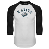 White/Black Raglan Baseball T Shirt-U State Arched