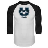 White/Black Raglan Baseball T Shirt-Dad
