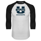 White/Black Raglan Baseball T Shirt-Grandpa