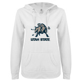ENZA Ladies White V Notch Raw Edge Fleece Hoodie-Utah State Stacked w/  Mascot