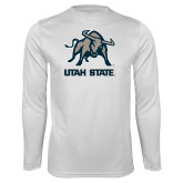 Performance White Longsleeve Shirt-Utah State Stacked w/  Mascot