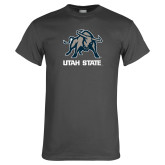 Charcoal T Shirt-Utah State Stacked w/  Mascot