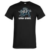 Black T Shirt-Utah State Stacked w/  Mascot