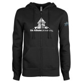 ENZA Ladies Black Fleece Full Zip Hoodie-University Mark Stacked