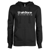 ENZA Ladies Black Fleece Full Zip Hoodie-University Wordmark