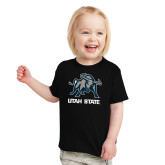 Toddler Black T Shirt-Utah State Stacked w/  Mascot