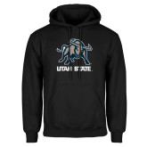 Black Fleece Hoodie-Utah State Stacked w/  Mascot