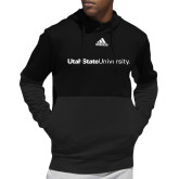 Adidas Black Team Issue Hoodie-University Wordmark Flat