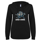 ENZA Ladies Black V Notch Raw Edge Fleece Hoodie-Utah State Stacked w/  Mascot