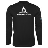 Performance Black Longsleeve Shirt-University Mark Stacked