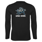Performance Black Longsleeve Shirt-Utah State Stacked w/  Mascot