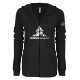 ENZA Ladies Black Light Weight Fleece Full Zip Hoodie-University Mark Stacked