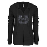 ENZA Ladies Black Light Weight Fleece Full Zip Hoodie-F Graphite Soft Glitter