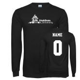 Black Long Sleeve T Shirt-University Mark Horizontal, Custom tee w/ name and #