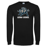 Black Long Sleeve T Shirt-Utah State Stacked w/  Mascot