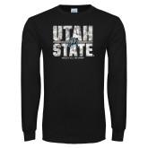 Black Long Sleeve T Shirt-Block Stacked