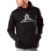 Under Armour Black Armour Fleece Hoodie-University Mark Stacked