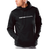 Under Armour Black Armour Fleece Hoodie-University Wordmark Flat