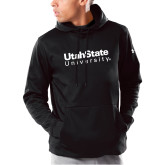 Under Armour Black Armour Fleece Hoodie-University Wordmark