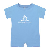 Light Blue Infant Romper-University Mark Stacked