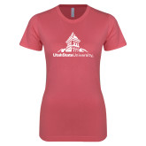 Next Level Ladies SoftStyle Junior Fitted Pink Tee-University Mark Stacked