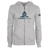 ENZA Ladies Grey Fleece Full Zip Hoodie-University Mark Stacked
