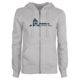ENZA Ladies Grey Fleece Full Zip Hoodie-University Mark Horizontal