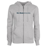 ENZA Ladies Grey Fleece Full Zip Hoodie-University Wordmark Flat
