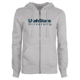 ENZA Ladies Grey Fleece Full Zip Hoodie-University Wordmark