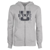 ENZA Ladies Grey Fleece Full Zip Hoodie-F Graphite Soft Glitter