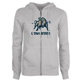 ENZA Ladies Grey Fleece Full Zip Hoodie-Utah State Stacked w/  Mascot