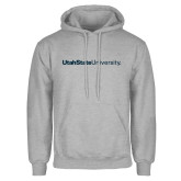 Grey Fleece Hoodie-University Wordmark Flat