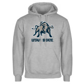Grey Fleece Hoodie-Utah State Stacked w/  Mascot
