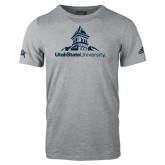 Adidas Sport Grey Logo T Shirt-University Mark Stacked